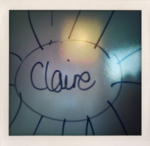 Claire on the whiteboard